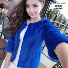 Free shipping NEW real/genuine whole skin mink fur coat women short design natural full pelt  fur three arter jacket