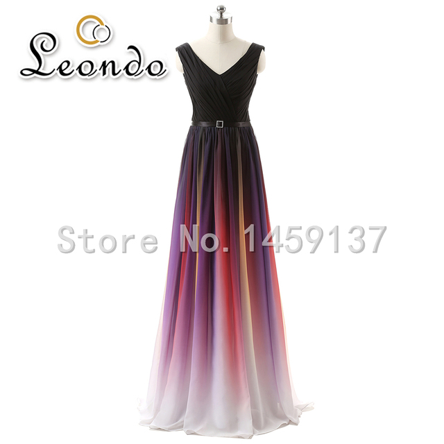 Fast Shipping Evening Party Formal Dress Real Photo V Neck Floor