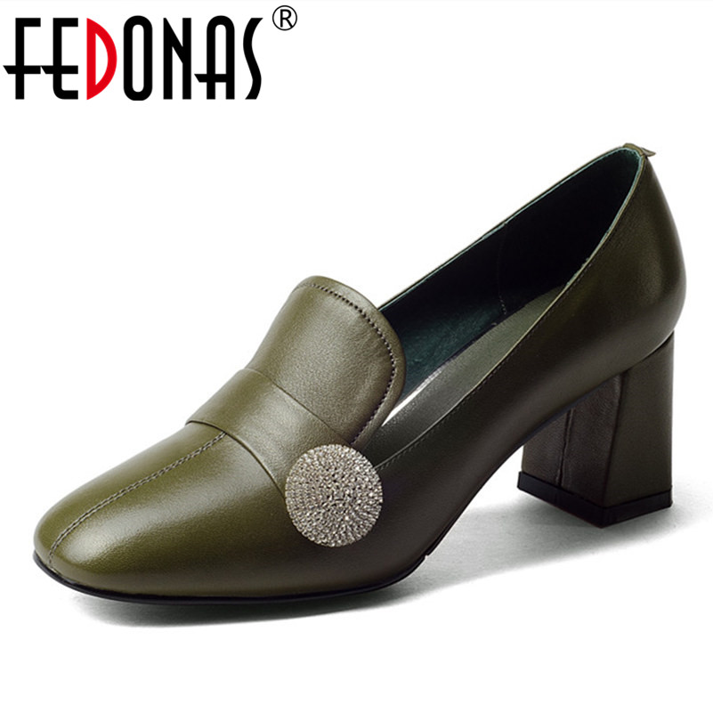 FEDONAS 2018 New Fashion Women Thick High Heel Pumps Genuine Leather Round Toe Spring Summer Retro Shoes Woman Pumps Big Size