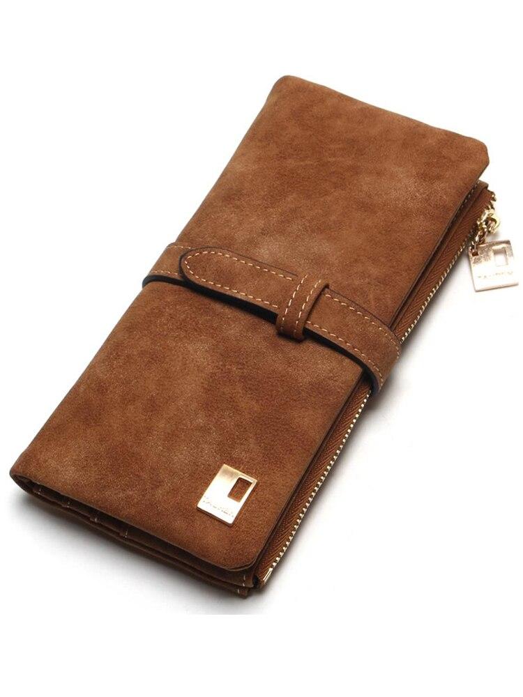 2020 New Fashion Women Wallets Drawstring Nubuck Leather Zipper Wallet Women's Long Design Purse Two Fold More Color Clutch