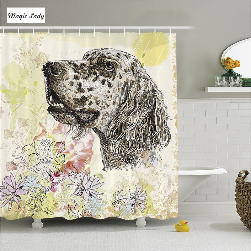 Shower curtain animal bathroom accessories dog pet head for Animal bathroom decor