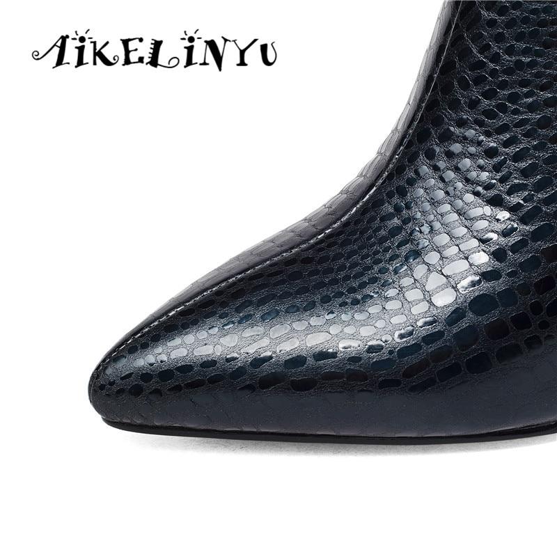 AIKELINYU automne hiver mode Sexy à talons hauts en cuir véritable bottes femmes pierre grainé bottines dame Furry solide Zip bottes - 5