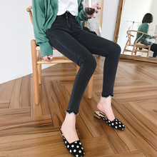Slim Jeans Women Skinny High Waist Stretch Black Jeans 2019 Spring Summer Ankle Length Irregular Frayed Pants Plus Size недорго, оригинальная цена