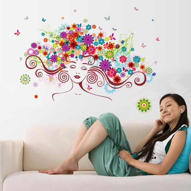 US $4.5 |Donna fiore diy vinyl wall stickers camera da letto farfalla  camere home decor art decalcomanie 3d carta da parati decorazione sk7049 in  ...