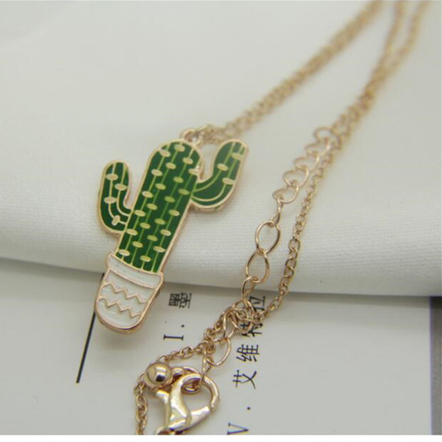 Colorful Cactus Pendant Necklace