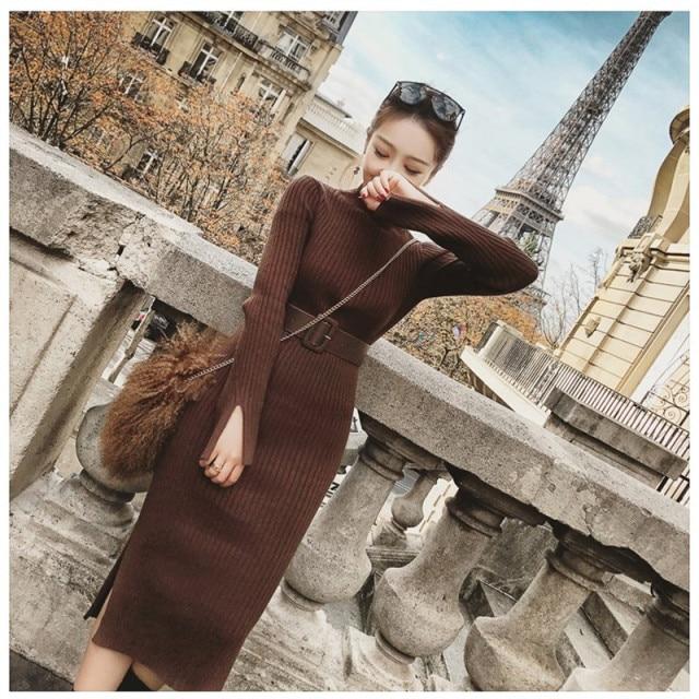 Knitted Dress Women 2018 Autumn Winter Long Sleeve Slim Elastic Turtleneck Sweater Bodycon Knee Length Dress With Belt