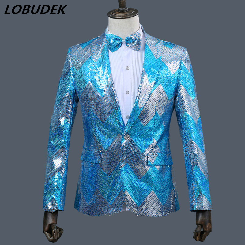 Male sequins jacket slim Coat Formal Party Costume prom host blazer stage wear singer nightclub bar performance outfit outerwear