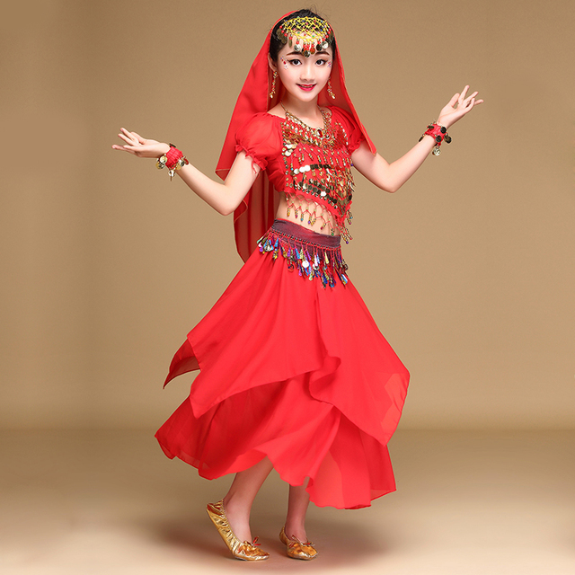 c66067ecc Girls belly dance costumes for kids 3-4-5-6-7piece fashion indian clothes  sky blue/red/rose/yellow arabian belly dancer costume