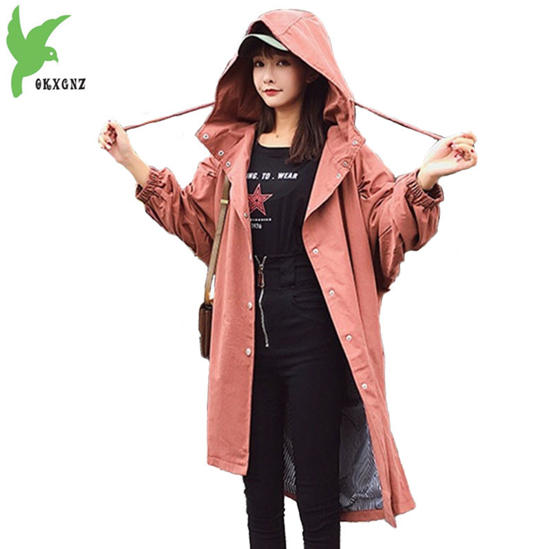 Autumn Women long style   trench   coat thin outwear casual hooded loose Bat sleeve coat female Large size cotton Windbreaker 2216
