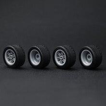 4PCS MOC Technic Parts Wheel Tyre Cross Hole 43.2x22mm DIY RC Car Truck Accessories Educational Toys Compatible Legoed Technic цены