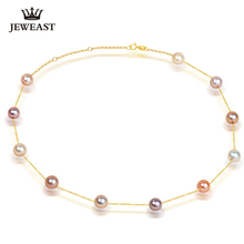 Pearl Necklace Pendant 18k Pure Gold Women girl gift Natural pearl Chain Solid 2017 New Hot Sell Trendy Party discount wholesale