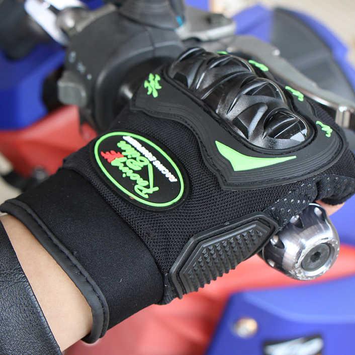 ハーフフィンガーオートバイの手袋モトクロス Luvas Guantes 緑色保護具夏男性女性 M-XXL SC04B