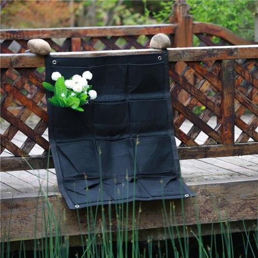 Großhandel 20 stücke 12 taschen NEW Filz Outdoor Vertikalen Garten Blumentöpfe Pflanzkübel, Hängen Töpfe Pflanzer wand Green Field
