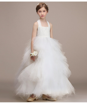 White Girls Wedding Dresses Girls Party Princess Dress Big Bowknot Style Ball Gown Christmas Birthday Clothes for 3-13 year