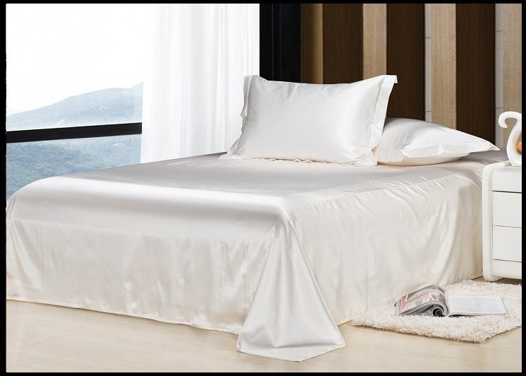 Luxury Ivory Cream White Silk Bedding Set Califotnia Super