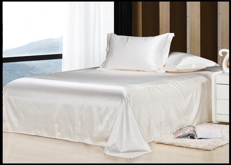 Luxury Ivory Cream White Silk Bedding Set Califotnia Super