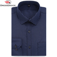 DRESSERVICE Classic Striped Men Dress Shirts Long Sleeve Business Formal Shirts Male Casual Shirts Large Size