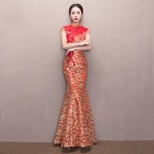 New Bride Wedding Dress Women Red Chinese Qipao Dress Fishtail Tracitional Cheongsam Party Evening Dress Long Wedding Dress 89