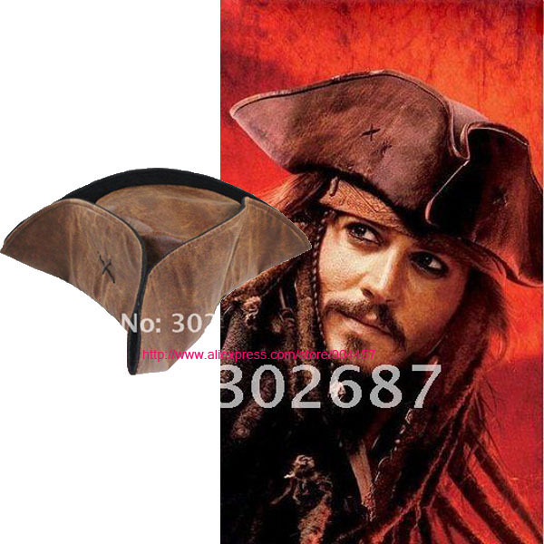 7b6c4a945eb47 Marrom Pirata Do Caribe Capitão Jack Sparrow Tricorn Chapéu Adulto Unisex  Cosplay Partido cap em Acessórios fantasias masculinas de Novidade   Uso  Especial ...