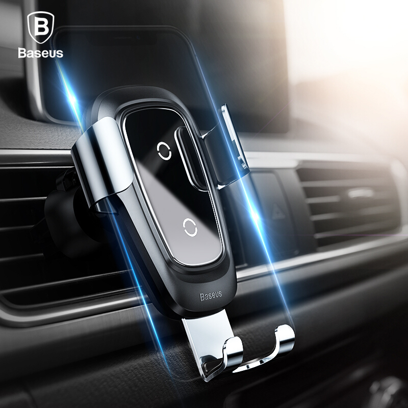 Baseus Qi cargador inalámbrico titular del coche para el iPhone XS 8 Samsung S9 titular del teléfono móvil soporte de ventilación sostenedor del teléfono del coche