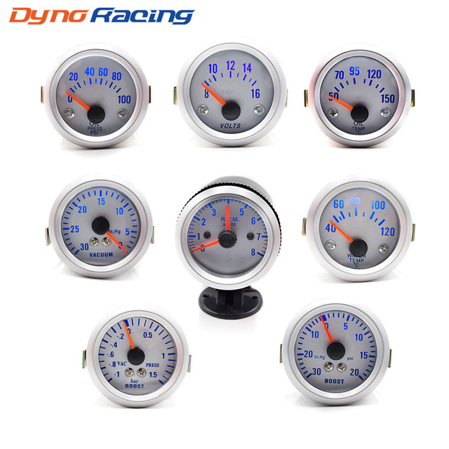 2INCH 52mm auto boost gauge vacuum water temp gauge oil temp gauge oil press gauge volts meter tachometer RPM
