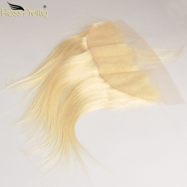 Ross Pretty Remy Peruvian Straight Hair Blonde Color Lace Front Human Hair 613 13x4 Frontal Middle or free part Peruvian Hair