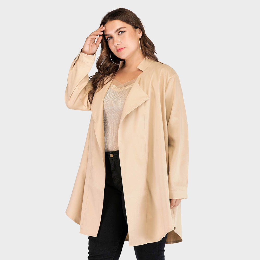 Plus size S - 5XL open stitch long style   trench   coat women turn down collar coats for spring and autumn