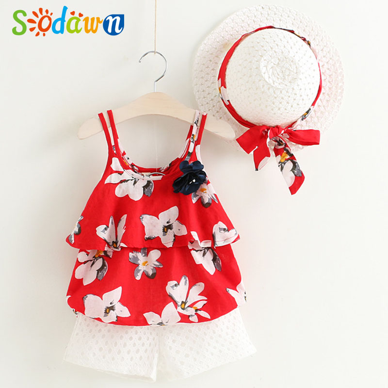 Sodawn 2018 Summer Girls Clothing Sets Flowers CondoleBelt+Shorts And Hat Suits Children Clothes Nwe Style Fashion Girls Clothes famous brand girl clothes sets fashion girls summer flowers set clothes girls suits kids blouse shorts children clothing set