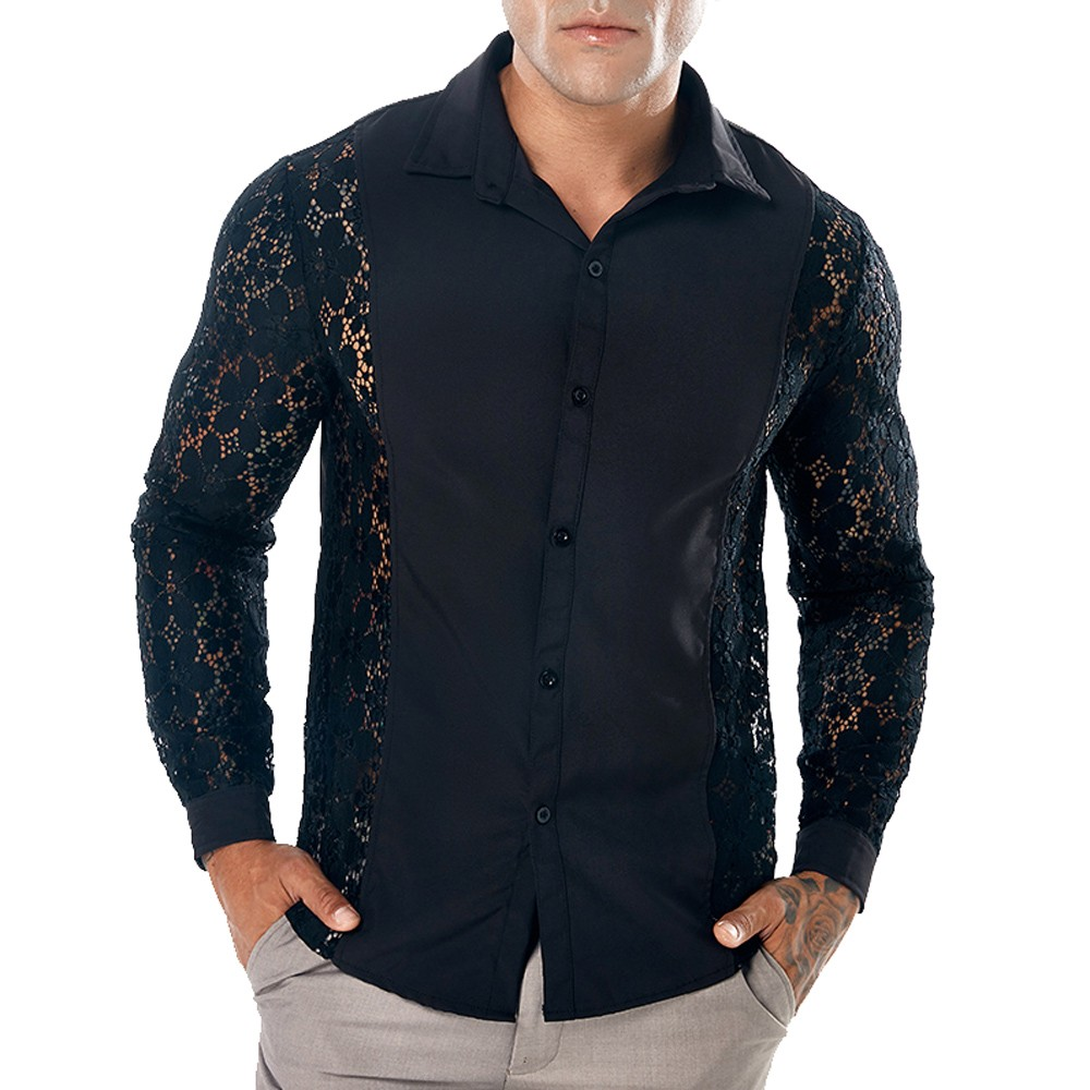 Men Spring Autumn Casual Lace Shirts Long Sleeve Hollow Out Black Shirts Men Dress Mens Harajuku Streetwear Clothing Camisas