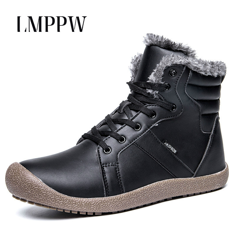 Soft Leather Men Boots Waterproof Winter Plush Warm Snow Boots Rubber Non-slip Ankle Boots Fashion Male Footwear Chaussure Homme