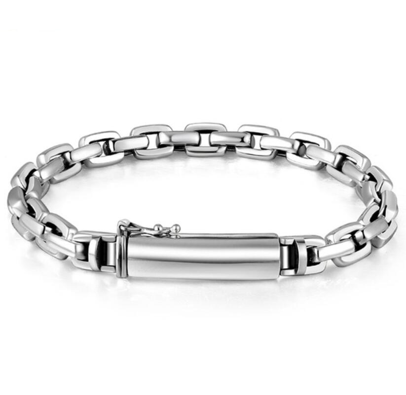 Pur argent Sterling 925 chaîne à maillons en argent et boucle de Tube S925 Bracelet chaîne à main