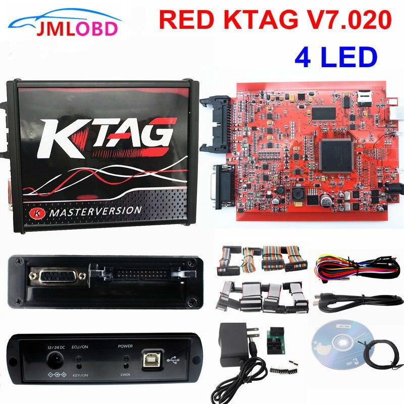 2018 rouge KTAG V7.020 OBD2 gestionnaire Tuning pas de jetons utiliser en ligne K-TAG 7.020 pour voiture/camion/tracteur K-TAG ECU puce Tuning outil