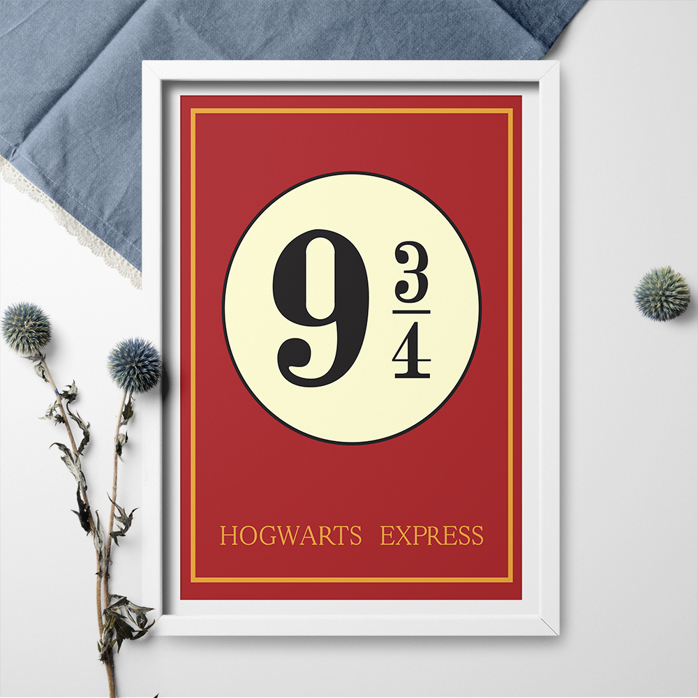 Canvas Painting TIE LER 9 3/4 Nine And Three Quarters Platform Harry Potter Movie Vintage Decoration Poster and Print Wall Art