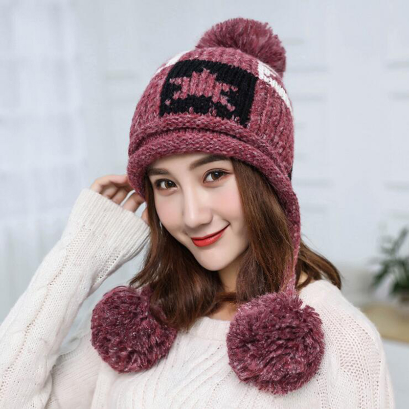 Skullies     Beanies   Winter Hats For Women Winter Hat Knitted Hat Female Pink Solid Acrylic Winter Hat Braid With Sars