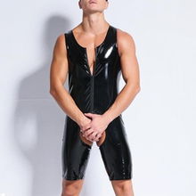 hot deal buy zipper front latex catsuit lingerie leather man jumpsuits black stretch pvc bodysuits sexy bodycon crotchless jumpsuit clubwear