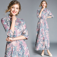 Designer Runway Dress Summer Autumn Robe Longue Femme Ete Bohemian Shirt Dresses Boho Beach Women Leaves Print Floral Maxi Dress