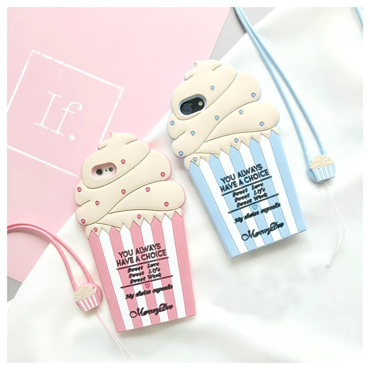 2017 New Hot 3D Cartoon Lato Lody Miękkie Silicon Back Cover Case Telefon na Dla IPhone