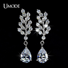 UMODE Fashion Plant Shaped Post Dangle Earring Jewelry For Women With Clear Cubic Zirconia Stone Water Drop Earrings AUE0010