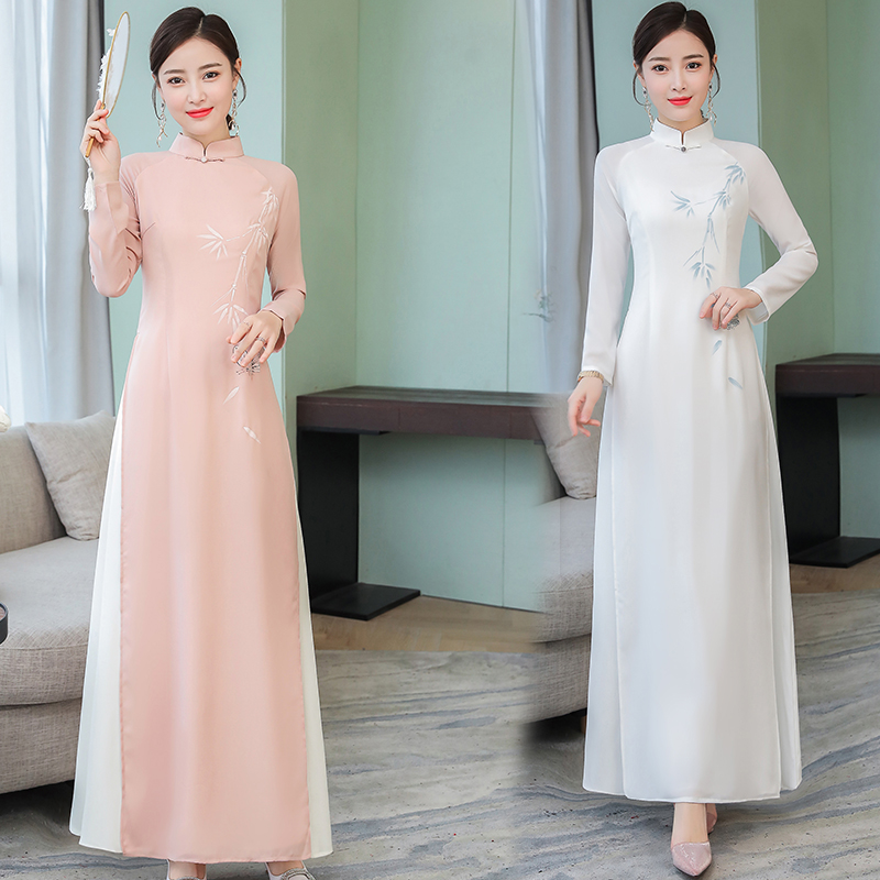 2019 Ao Dai Chiffon Long Aodai Women Vietnam Print Flower Cheongsam Vintage Mandarin Collar Elegant Vietnam Traditional Dress