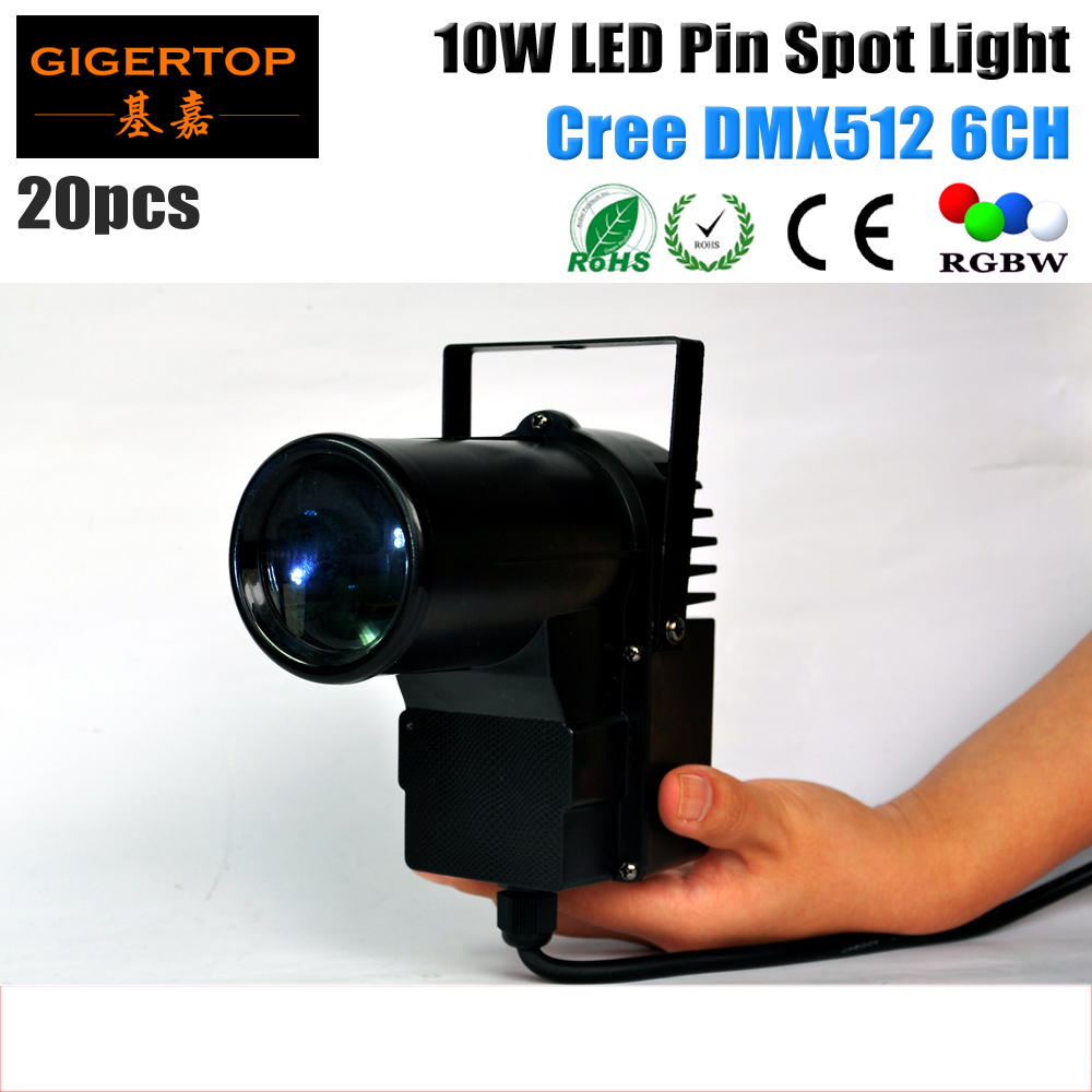 ФОТО TIPTOP 20pcs/lot DMX512 10 Watt American DJ Pinspot LED RGBW 4IN1 DMX IN OUT 4-color LED Mini Pin Spot Light  6CH Glass Ball