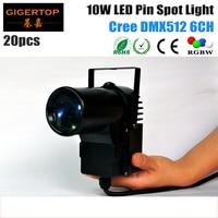 VERKAUFS-TIPTOP 20 teile/los DMX512 10 Watt American DJ Pinspot LED RGBW 4IN1 DMX IN OUT 4-farb-led-prozess Mini Pin Spot-Licht 6CH Glas Ball