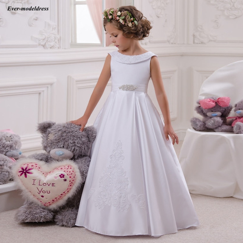 Holy White A-Line First Communion Dresses Appliques Beaded Bow Sash Flower Girls Dresses For Wedding robe fille mariage