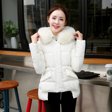 2016New Winter Cotton Jacket Coat For Female Thick Fur Collar Coat Long 1950s Thick Warm Down