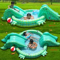 Ey1 New Arrival Multifunctional Inflatable Child Swimming Pool With Double slide In Crocodile Shape Crocodile Game Pool For Kids