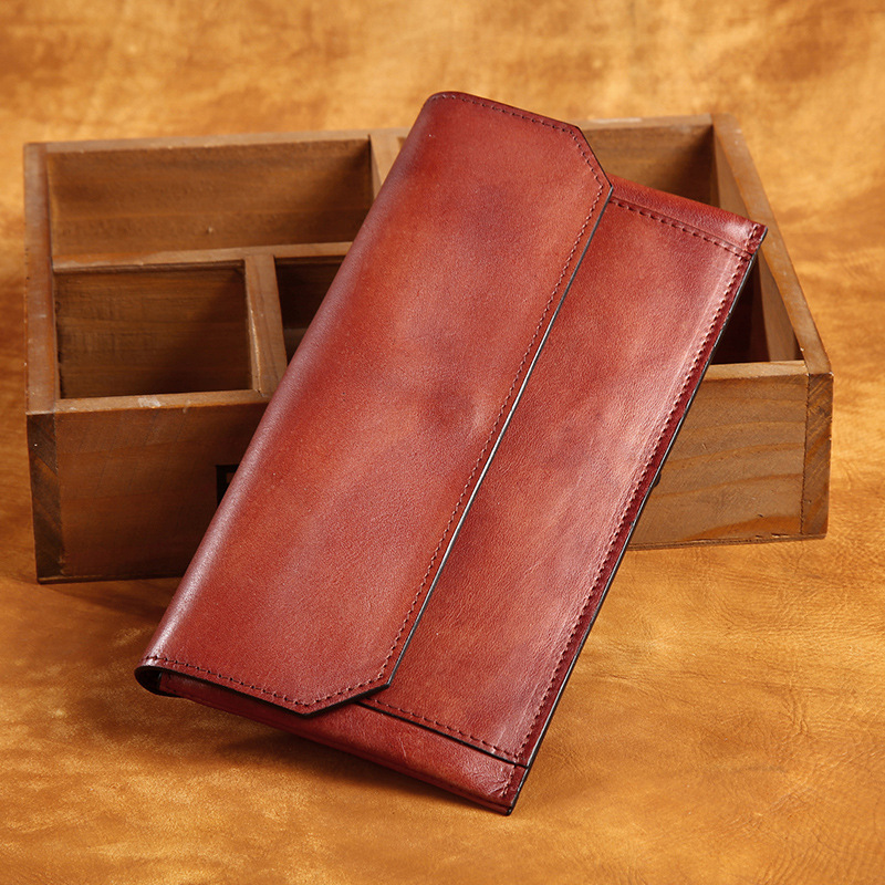 100 Genuine Leather men women s Long section of the multi card wallet Retro purse vintage