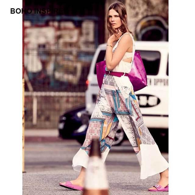57b4ae4bb BOHO INSPIRED off white Floral Print chiffon jumpsuit women sexy sleeveless  v-neck loose Summer