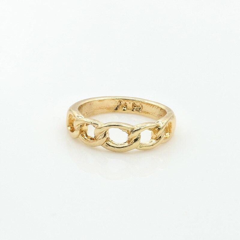 Women Girls Chain Knitting Ring Gold Silver Plated Midi ...