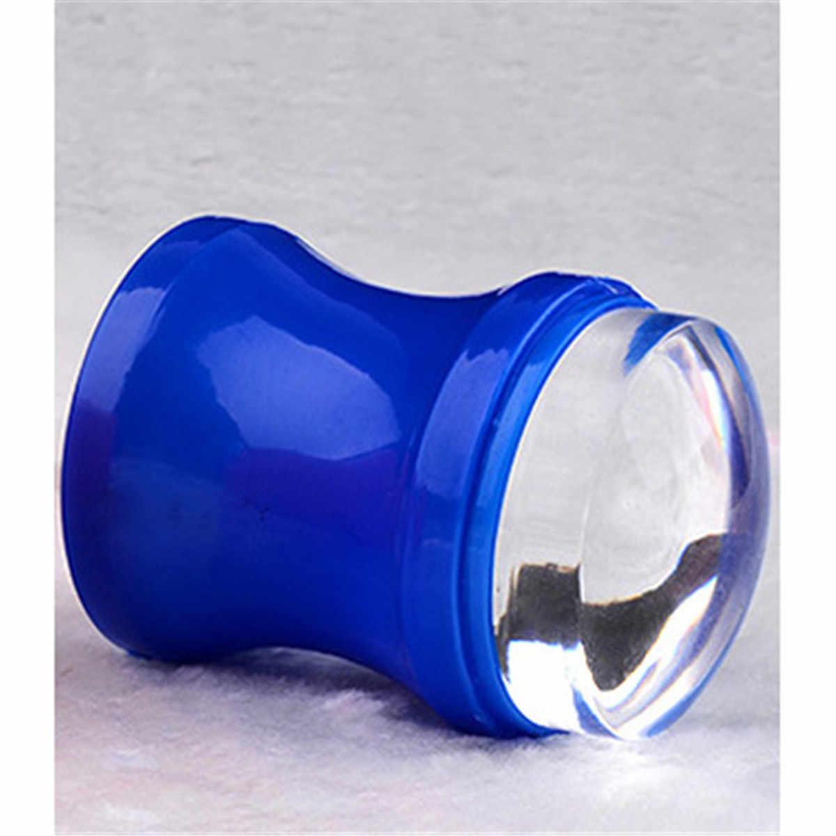 การออกแบบมะระวุ้นเล็บ 3.8 เซนติเมตรขนาดใหญ่ Stamper โปร่งใสสีแดงสีฟ้าซิลิโคนมาร์ชแมลเลี่ยมเครื่องตอกตะปูเครื่องขูดชุด