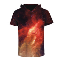 Design Fahsion Men/Women Clothing 3D Print Red Galaxy Space Short Sleeve Hooded T Shirt Breathable Fast Drying Sweats Tops Tees