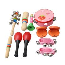 Yibuy/Детский комплект перкуссии из металла и дерева для детей дошкольного возраста, Детский рюкзак из 10 разных цветов